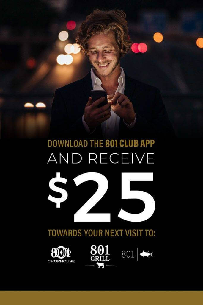 801 Club App $25 discount online graphic